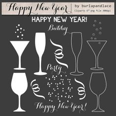 Clipart Happy New year, confetti, champagne clipart, party New Years Eve Party, cocktails, instant download