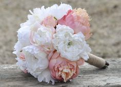 Blush pink and ivory peonies wedding bouquet by Hollysflowershoppe, $125.00