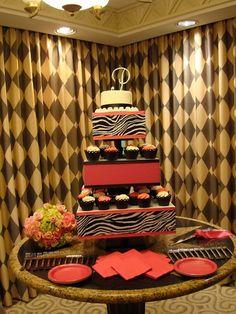 pink and zebra cupcake stand