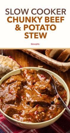 This Slow Cooker Chunky Beef & Potato Stew is a hearty, protein-packed dish that will warm your stomach and fill you for hours. Potato Stew Recipe, Beef And Potato Stew, Beef And Potatoes, Stewed Potatoes, Slow Cooker Beef, Slow Cooker Recipes, Crockpot Recipes, Cooking Recipes, Crockpot Lunch