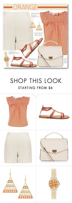 """Orange & Cream"" by brendariley-1 ❤ liked on Polyvore featuring Peridot London, New Look and Orla Kiely"