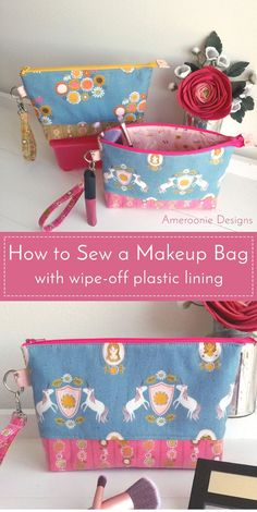 Diy Sewing Projects Learn how to make a makeup bag with a plastic lining. A fun wipe-off cosmetic bag tutorial. You can easily clean the interior! Diy Makeup Bag Tutorial, Makeup Bag Tutorials, Cosmetic Bag Tutorial, Zipper Pouch Tutorial, Clutch Tutorial, Bag Patterns To Sew, Sewing Patterns Free, Sewing Paterns, Clothes Patterns
