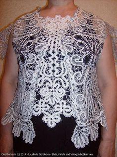 The Butterflies - jacket, Vologda bobbin lace technique