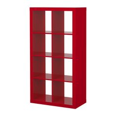 EXPEDIT Shelving unit - high gloss red - IKEA    [On its side, under the windows. Books in it, plants on top.]