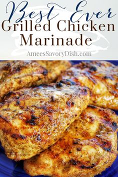 This best ever grilled chicken marinade recipe goes great with chicken, beef, or pork and is fast and easy to whip together! #marinaderecipe #chickenmarinade #bestmarinade #grilledchicken #grillrecipe via @Ameecooks Chicken Marinade Recipes, Chicken Tender Recipes, Chicken Marinades, Beef Recipes, Smoker Recipes, Kraft Recipes, Turkey Recipes, Healthy Grilling Recipes, Healthy Meals