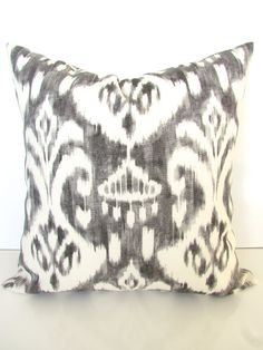 GRAY OUTDOOR PILLOWS Gray Pillow Covers Gray Indoor Outdoor Pillow Covers Grey Ikat Decorative pillows 16 18x18 20x20 All Sizes Home Decor