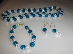 """Teal Green """"Crystal Colors"""" 3 piece set --- $1.50 + $3.00 shipping in the USA"""