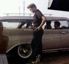 Elvis near Chrysler New Yorker Station Wagon Source FB