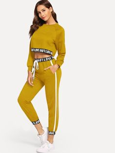 Letter Taped Top With Pants - Color: Dark Red, Yellow, Black - Material: Polyester - Neckline: Round Neck - Sleeve Length: Long Sleeve - Decoration: Drawstring - Fabric: Fabric has some stretch - Ships in days Teen Fashion Outfits, Sporty Outfits, Cool Outfits, Ellesse, Drawstring Pants, Two Piece Outfit, Active Wear For Women, Fitness Fashion, Lounge Wear