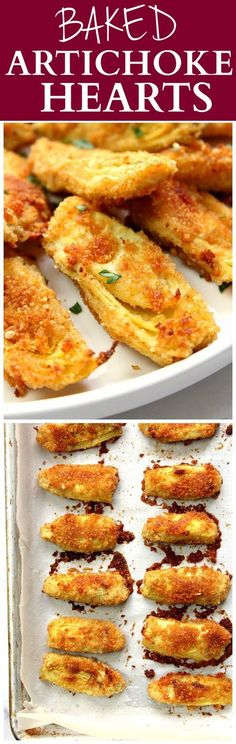 Baked Artichoke Hearts Recipe - delicious appetizer idea that couldn't be easier to make! Artichoke hearts dipped in garlicky butter and coated with Parmesan breadcrumbs. Baked to crispy perfection! Swap almond flour for bread crumbs! Side Dish Recipes, Vegetable Recipes, Vegetarian Recipes, Cooking Recipes, Healthy Recipes, Bread Recipes, Vegetarian Appetizers, Dishes Recipes, Bariatric Recipes