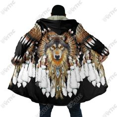 Native Wolf Dreamcatcher Hooded Coat 3521 - The Vitic Native American Wolf, Native American Clothing, Native American Fashion, Native Fashion, Faux Fur Jacket, Hooded Jacket, Wolf Dreamcatcher, Indian Jackets, Native Wears