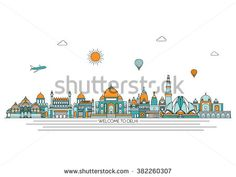 Delhi detailed skyline. Travel and tourism background. Vector background. line illustration. Line art style