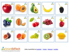Nouns Fruits - SmartEdTech Printable Communication Cards and can be used with Cariboo