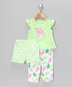 Take a look at this Light Green Frog Princess Ruffle Pajama Set - Infant & Toddler by Little Me on #zulily today!