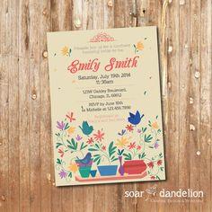 Floral Bridal Shower Printable Invitation by soardandelion on Etsy, $9.90