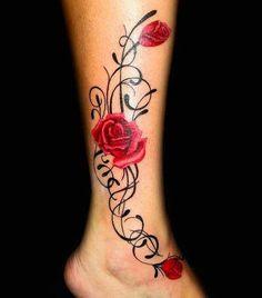 Tatouage roses rouges sur la cheville - Tattoo pied