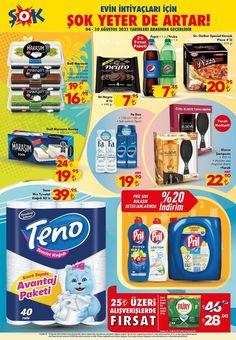 4 Ağustos tarihli ŞOK Market broşüründe bu hafta Motorola Kablolu Kulaküstü Kulaklık ve Bluetooth Buds100 Kulaklık, Lenovo Kablolu Kulaklık, Sinbo SBG-7102 Elektrikli Izgara, termos çeşitleri, Mounty Kamp Sandalyesi çeşitleri, pek çok kamp gereçleri, giyim, oyuncak, gıda, kişisel bakım ve temizlik ürünleri yer almaktadır. Pepsi, Frosted Flakes, Cereal, Pizza, Box, Bluetooth, Snare Drum, Breakfast Cereal, Corn Flakes