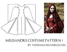Princess & Dragon - Ylenia Manganelli : Melisandre Gown - Costume TUTORIAL and PATTERN + Necklace, Shoulders and Neck pieces #5 #costumepattern