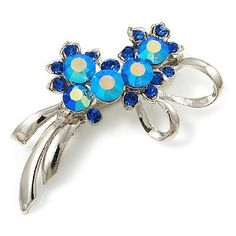 Rhodium Plated AB Crystal Floral Brooch (Navy Blue) Avalaya. $14.40. Type: crystal. Occasion: anniversary, mothers day, cocktail party. Metal Finish: rhodium plated. Gemstone: diamante. Theme: floral