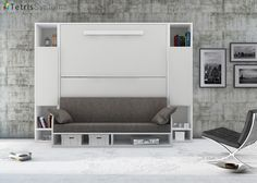 Litera VERSATILE 90 x 190 con sofá y librerías laterales simétricas.Elmenut