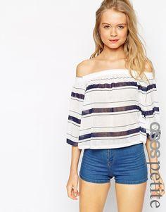 ASOS+PETITE+Off+Shoulder+Top+In+Stripe