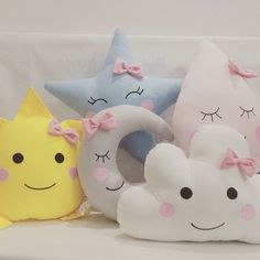 Set of three pillows – mint cloud, yellow moon and light coral star. Fabric cotton on both sides of the pillows and hypo allergenic hollow Cute Pillows, Baby Pillows, Baby Bedroom, Baby Room Decor, Pillow Room, Baby Crafts, Fabric Dolls, Baby Sewing, Kids And Parenting