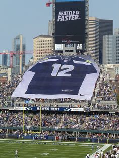 Seahawks! Ginormous 12th Man banner unfurled in the end zone of CenturyLink Field