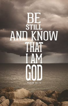 """Psalm 46:10  (KJV)   """"Be still, and know that I am God: I will be exalted among the heathen, I will be exalted in the earth."""""""