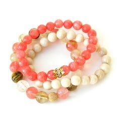 Gemstone bracelet set multi colored Peach by Studio3712Jewelry