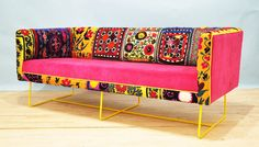 Hey, I found this really awesome Etsy listing at http://www.etsy.com/listing/173913917/suzani-box-sofa-yellow-feet
