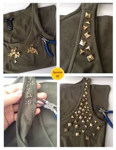 How to make army studded shirt diy studs hm veritas Fashion Tips For Women, Diy Fashion, Sewing Clothes, Custom Clothes, Studded Shirt, Army Shirts, Diy Kleidung, Unique Style, Fashion Project