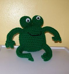 Crocheted Froggie  Stuffed Animal  Amigurumi by meddywv on Etsy, $12.00