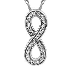 10KT White gold 0.25 ctw diamond infinity pendant, chain included. Part of the Forever Infinity collection. Infinity Jewelry, Infinity Pendant, Pendant Set, White Gold Diamonds, Valentines Day, Chain, Collection, Valentine's Day Diy, Necklaces