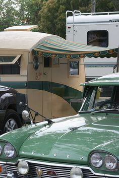 Love the greens vintage trailer camper glamping