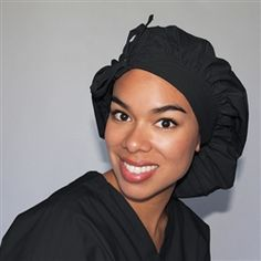 Green Scrubs - Tie Bonnet Hat - Black It has more cubic capacity than the bouffant scrub cap and can accommodate even the fullest locks.