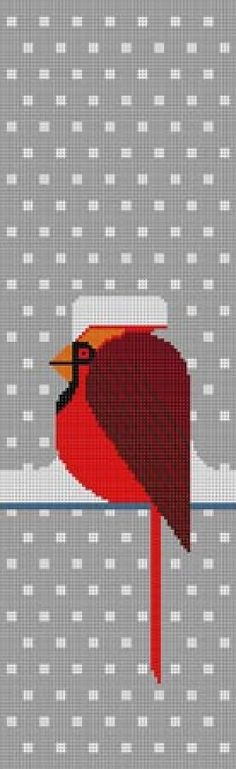 Charley Harper Needlepoint Cool Cardinal (In Stock)