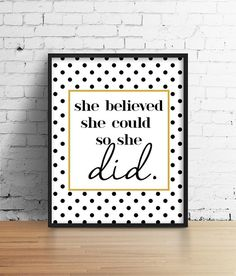 "Black And Gold Motivational Poster. She believed she could so she did. Bedroom Poster. Office Art. Typography Poster. 8.5x11"" Print"