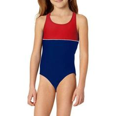 OP Girls' Color Block Athletic One Piece, Size: 6/6X, Blue