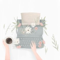 Typewriter designed by Artnis. the global community for designers and creative professionals. Art Mignon, Illustration Noel, Instagram Highlight Icons, Anime Art Girl, Aesthetic Art, Cute Wallpapers, Cute Drawings, Art Sketches, Cute Art