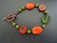 Faceted Jade and Czech Glass Bracelet. £10.00