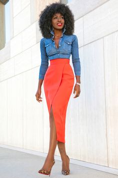 Style Pantry | Fitted Denim Shirt + Front Slit Tulip Skirt