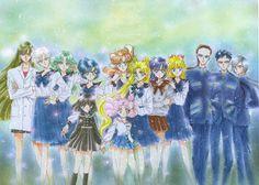 """美少女戦士セーラームーン原画集 Bishoujo Senshi Sailor Moon Original Picture Collection vol.5 """"This is a drawing of the whole team in uniform. When the white-clad Setsuna-sama came out in the musical, followed by army tights, I was knocked out. Within myself, I still think Setsuna-sama should forever wear white clothes."""" by Naoko Takeuchi - 1996 Nakayosi May front matter"""