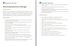 Marketing Operations Manager Job Description - A template to quickly document the role and responsibilities for this position. Get it here: http://www.demandmetric.com/content/marketing-operations-manager-job-desc