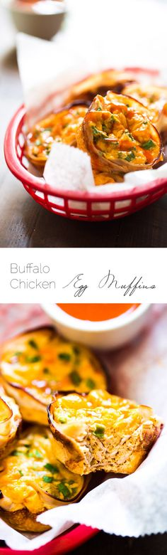 Buffalo Chicken Egg Muffin Recipe - Protein Packed and ready in 20 minutes, these are perfect for a healthy on the go breakfast or game day bite! | Foodfaithfitness.com | @FoodFaithFit