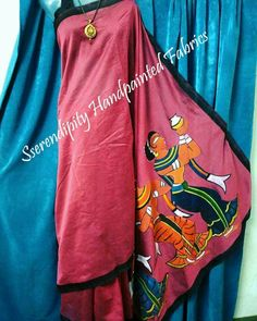 https://m.facebook.com/story.php?story_fbid=351860618478865&id=102212423443687  Burgandy Handpainted saree with detailed traditional Indian painting on Pallu and black border adding elegance .. Unique and simple ..All my work is free handpainted no use of stencils or tracing #Burgandy #Handpainted #saree with detailed #traditional #Indian #painting on Pallu and black border adding #elegance #Unique #simple #ethnic #indianwear #sari #ootd #instaart #wearableart #shopnow #designerwear