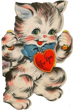 Sweet old kitty valentine - I remember these cute old Valentines! So cute!