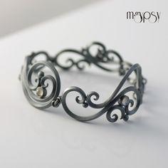 White Dahlia - Sterling Silver & Rainbow Moonstone Wedding Bracelet. Handmade by Salczynska/mgypsy