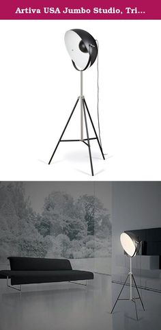 Artiva USA Jumbo Studio, Tripod Design, 72-Inch Black Metal Floor Lamp with Adjustable Dome Shade for Lighting and Picture Taking. Artiva Studio/Tripod Floor Lamp, 72-Inch Inspired by photography flood lamps, this handsome tripod floor lamp is as functional as it is stylish. Boasting an oversize (21 inch)Shade with reflector, it is perfect to diffuse light throughout your space. Whether looking for a classic or contemporary look, the tripod base is a timeless accent. The lamp stands six…