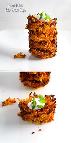 """sweet potato hash brown cups - baked in a muffin tray and yummy warm or wrapped for a lunchbox"""
