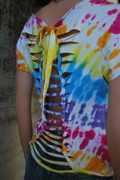 Vintage Upcycled Tye Dye Sunburst Design Short Sleeve Open Back Top (SMALL/MEDIUM) AKA The Meet Me In Santa Cruz Top from TheWayUmakeMeFeel.etsy.com